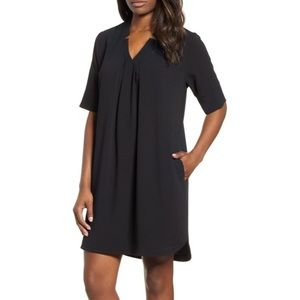 NWT BOBEAU Black Pleat Front Curved Hem Shirtdress
